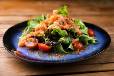 Fresh mixed salad with smoked salmon