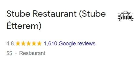 Stube étterem értékelés - Google Review